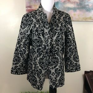 Talbots Lattice Floral Button Lined Blazer Jacket